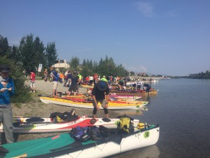 Boats ready to launch at start of the race in Whitehorse