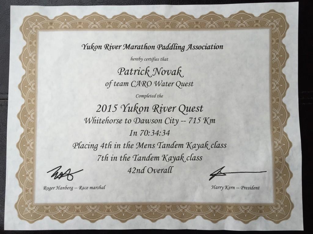 Award for finishing the race.